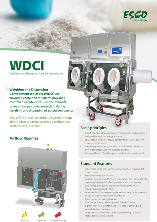 Weighing and Dispensing Containment Isolator (WDCI) Sell Sheet​
